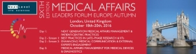 The 6th edition of the Medical Affairs Leaders forum Autumn will be held in London on 18th - 20th October 2016.<br/>Come and join us to hear about the latest trends on:<br/>- the next generation medical affairs management and patient-centric practices, <br/>-the best practices in late-phase research, <br/>- the medical communication and external expert engagement, <br/>- and the medical affairs for medical devices and diagnostics